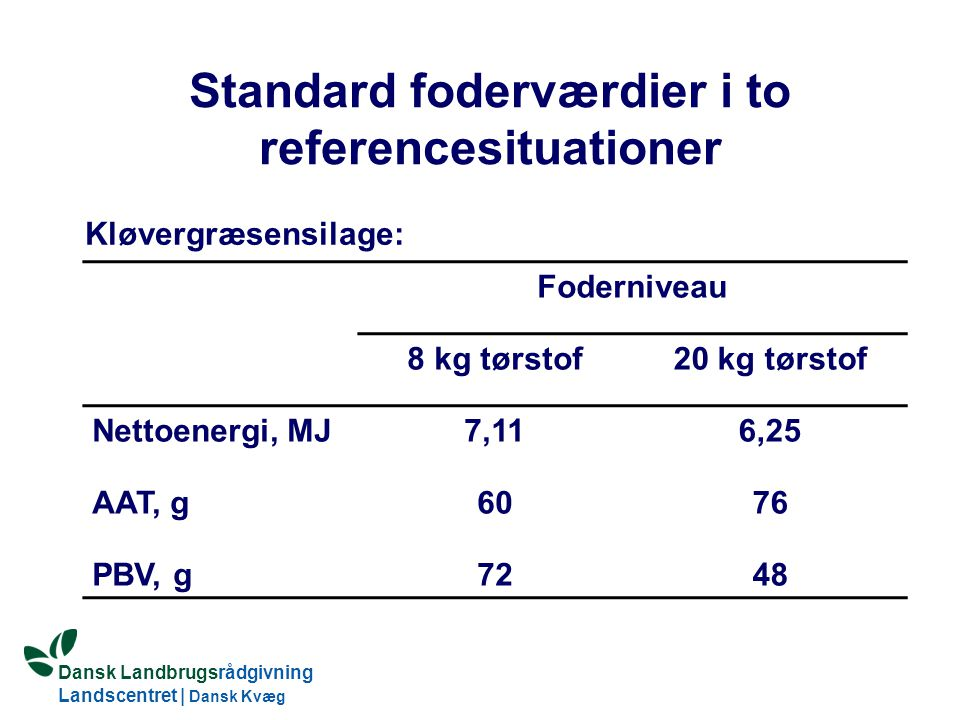 Dansk Landbrugsrådgivning Landscentret | Dansk Kvæg S:\SUNDFODE\Dansk Kvægs Kongres 2004\TEMA 11\Rudolf_Thoegersen.ppt Standard foderværdier i to referencesituationer Foderniveau 8 kg tørstof20 kg tørstof Nettoenergi, MJ7,116,25 AAT, g6076 PBV, g7248 Kløvergræsensilage: