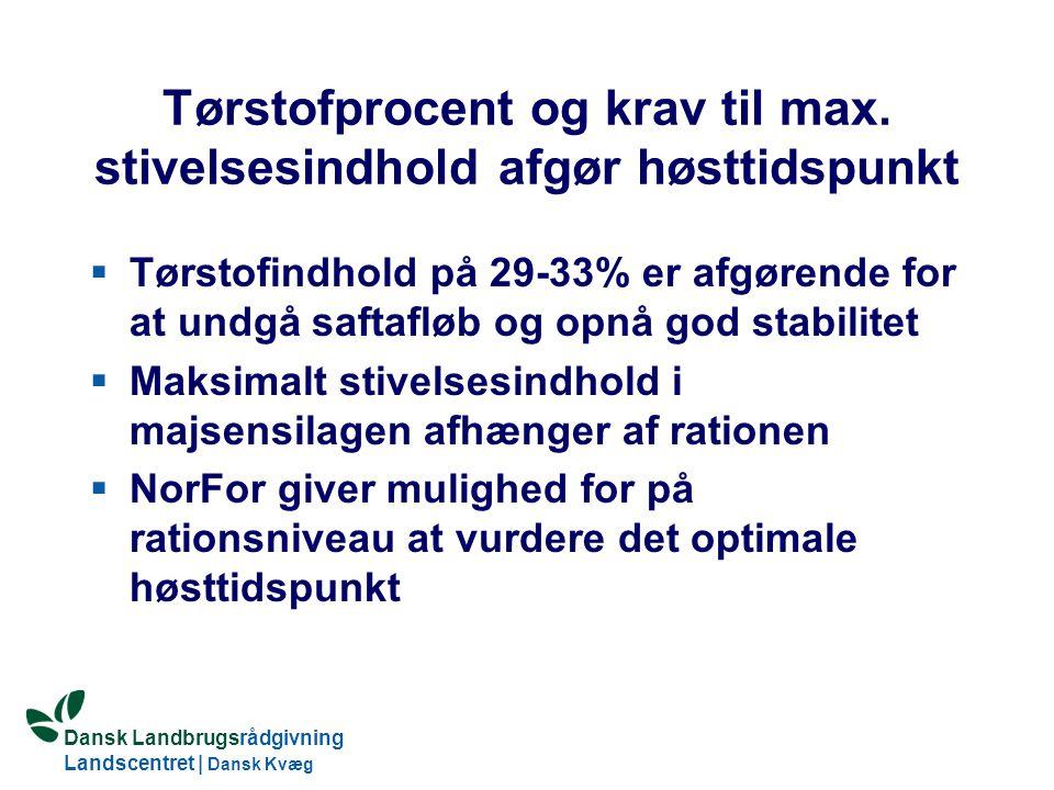 Dansk Landbrugsrådgivning Landscentret | Dansk Kvæg S:\SUNDFODE\Dansk Kvægs Kongres 2004\TEMA 11\Rudolf_Thoegersen.ppt Tørstofprocent og krav til max.