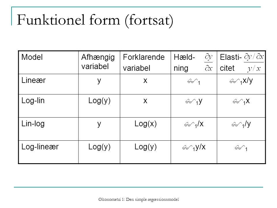 Økonometri 1: Den simple regressionsmodel Funktionel form (fortsat) ModelAfhængig variabel Forklarende variabel Hæld- ning Elasti- citet Lineæryx 11  1 x/y Log-linLog(y)x 1y1y 1x1x Lin-logyLog(x)  1 /x  1 /y Log-lineærLog(y)  1 y/x 11