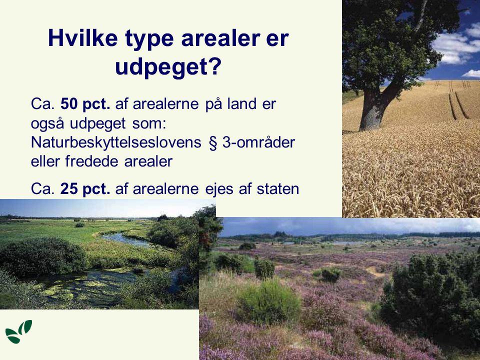 Hvilke type arealer er udpeget. Ca. 50 pct.
