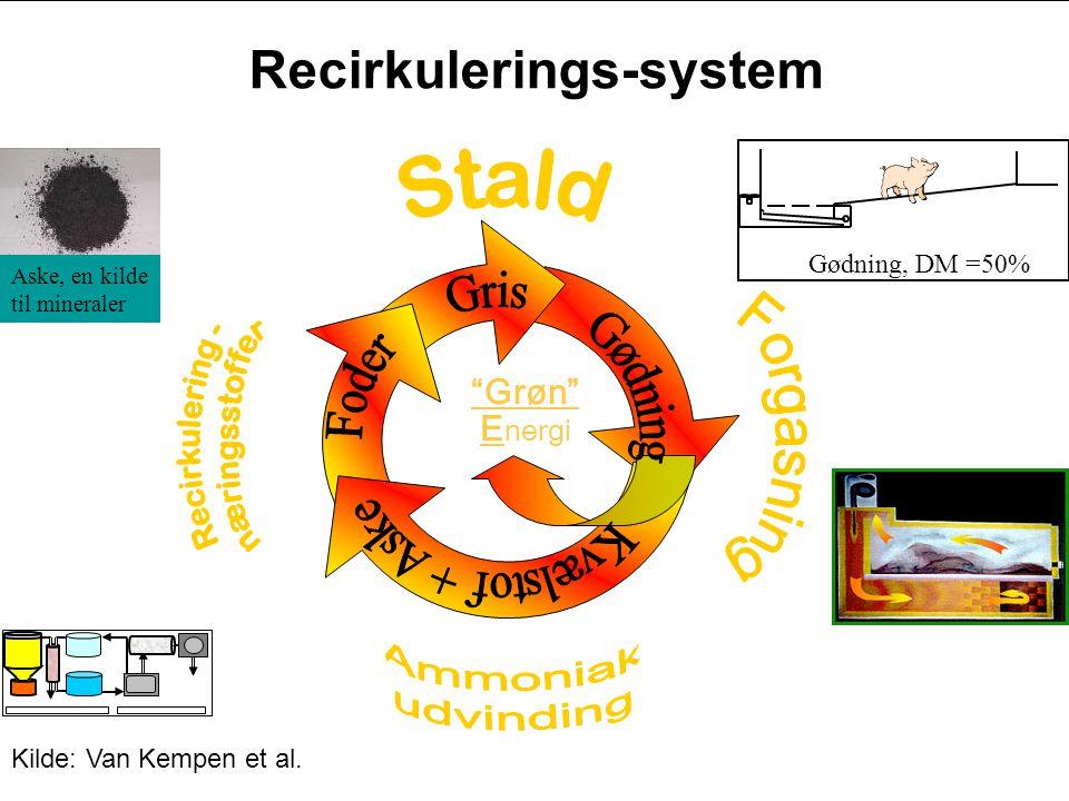 Grøn E nergi Gødning, DM =50% Aske, en kilde til mineraler Recirkulerings-system Kilde: Van Kempen et al.