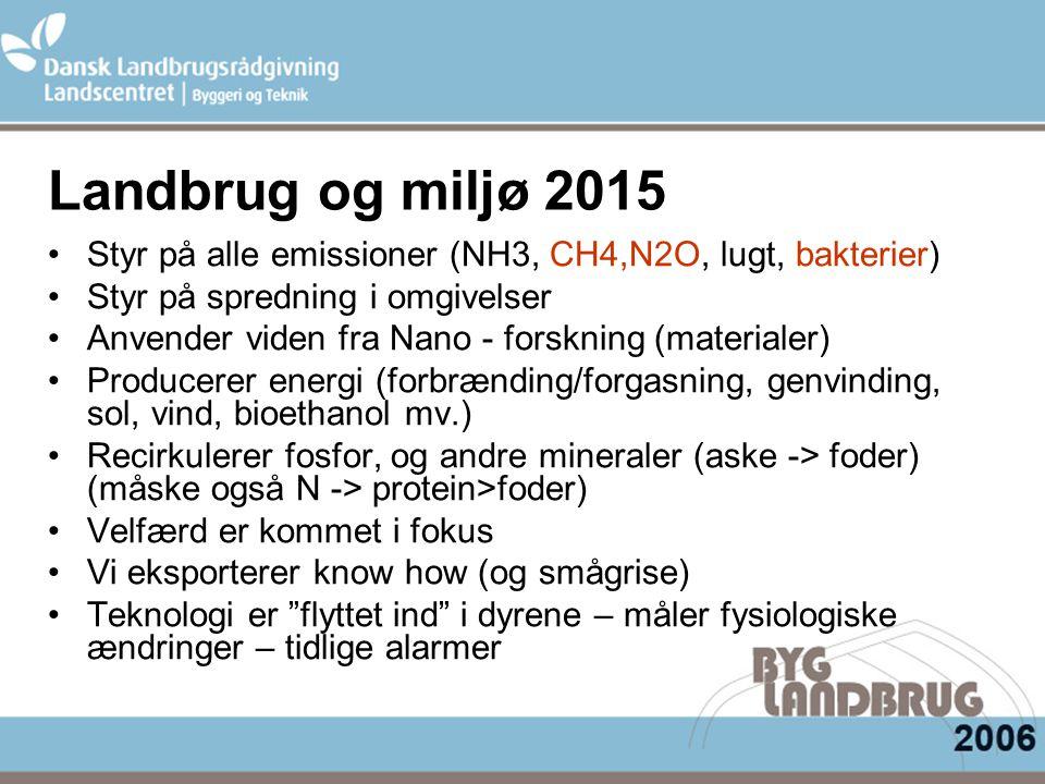 Landbrug og miljø 2015 Styr på alle emissioner (NH3, CH4,N2O, lugt, bakterier) Styr på spredning i omgivelser Anvender viden fra Nano - forskning (materialer) Producerer energi (forbrænding/forgasning, genvinding, sol, vind, bioethanol mv.) Recirkulerer fosfor, og andre mineraler (aske -> foder) (måske også N -> protein>foder) Velfærd er kommet i fokus Vi eksporterer know how (og smågrise) Teknologi er flyttet ind i dyrene – måler fysiologiske ændringer – tidlige alarmer