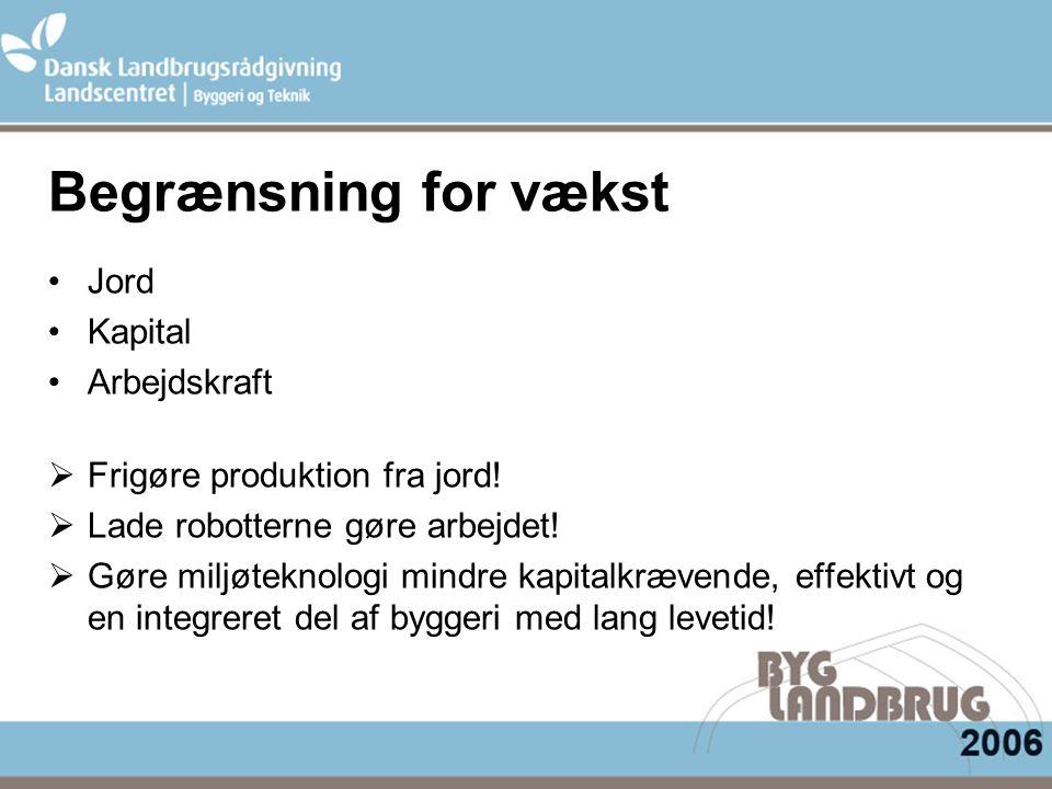 Begrænsning for vækst Jord Kapital Arbejdskraft  Frigøre produktion fra jord.