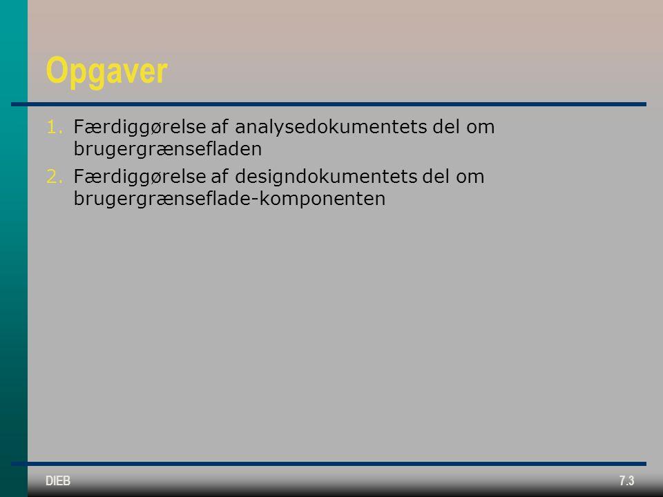 DIEB7.3 Opgaver 1.Færdiggørelse af analysedokumentets del om brugergrænsefladen 2.Færdiggørelse af designdokumentets del om brugergrænseflade-komponenten
