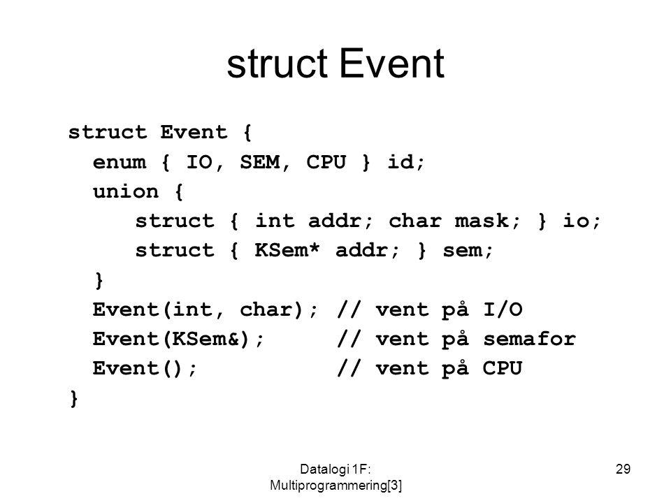 Datalogi 1F: Multiprogrammering[3] 29 struct Event struct Event { enum { IO, SEM, CPU } id; union { struct { int addr; char mask; } io; struct { KSem* addr; } sem; } Event(int, char);// vent på I/O Event(KSem&);// vent på semafor Event();// vent på CPU }