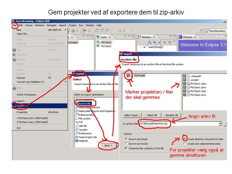 Gem projekter ved af exportere dem til zip-arkiv