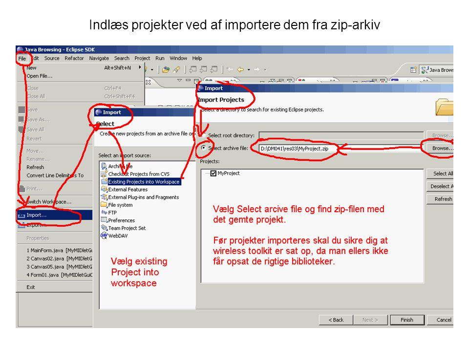 Indlæs projekter ved af importere dem fra zip-arkiv