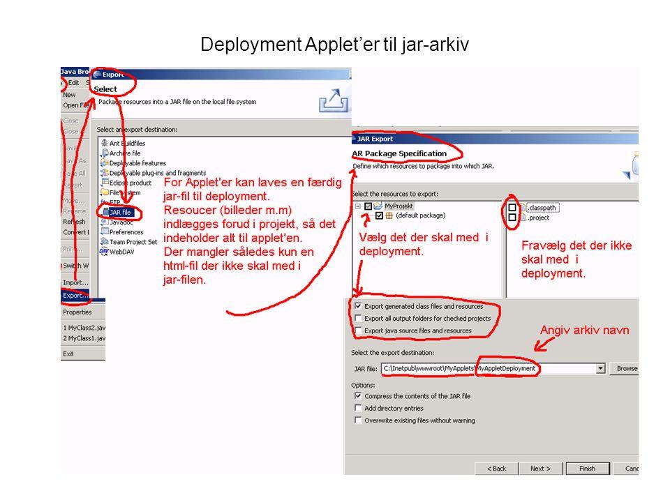 Deployment Applet'er til jar-arkiv