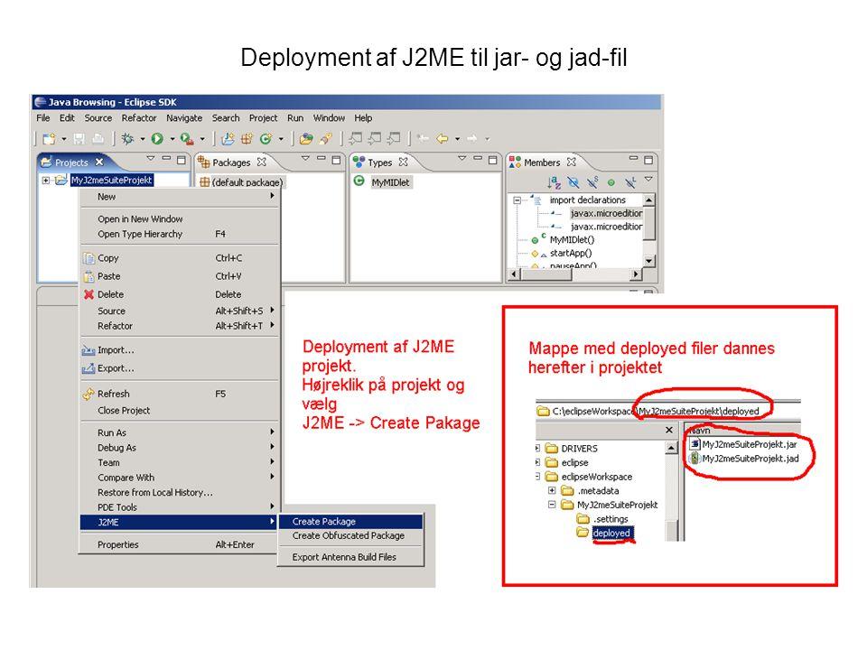 Deployment af J2ME til jar- og jad-fil