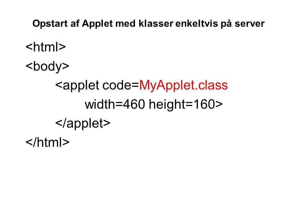 Opstart af Applet med klasser enkeltvis på server <applet code=MyApplet.class width=460 height=160>