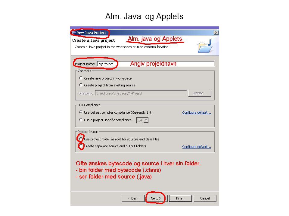 Alm. Java og Applets