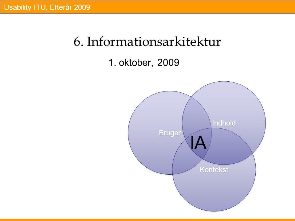 Usability ITU, Efterår 2009 6. Informationsarkitektur 1. oktober, 2009 Bruger Kontekst Indhold IA