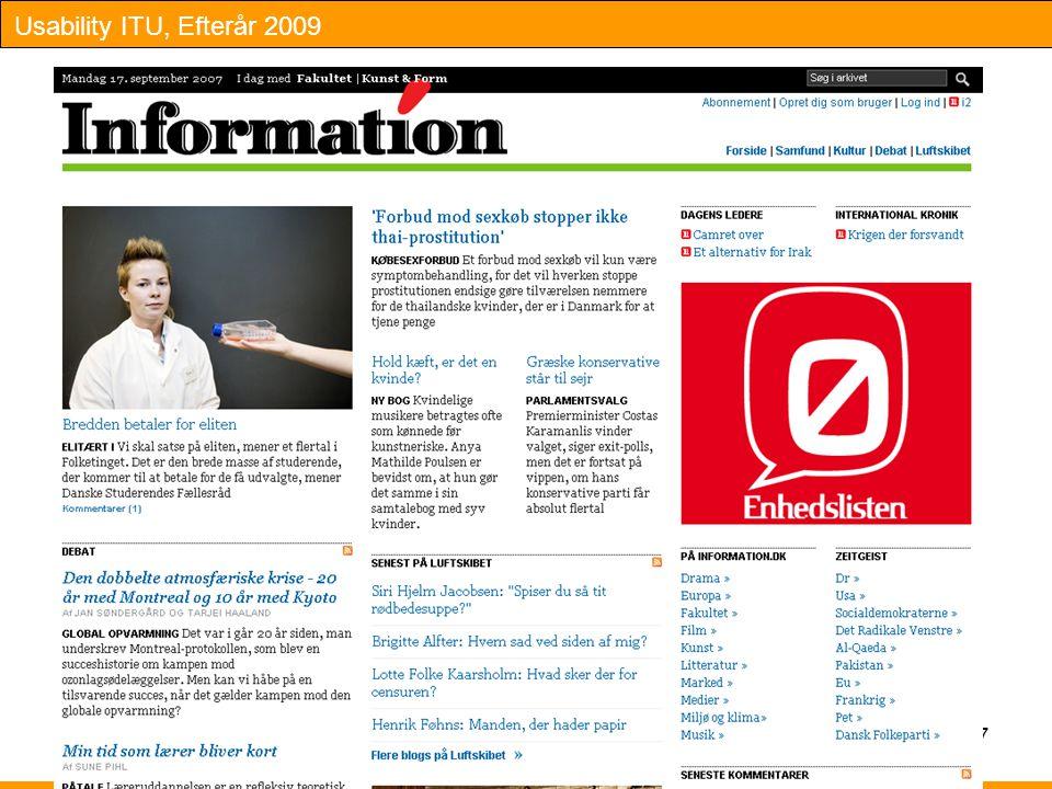 Usability ITU, Efterår 2009 17
