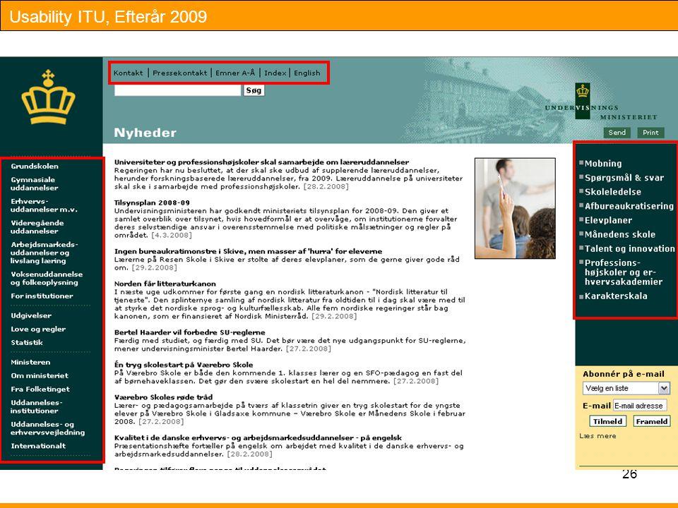 Usability ITU, Efterår 2009 26