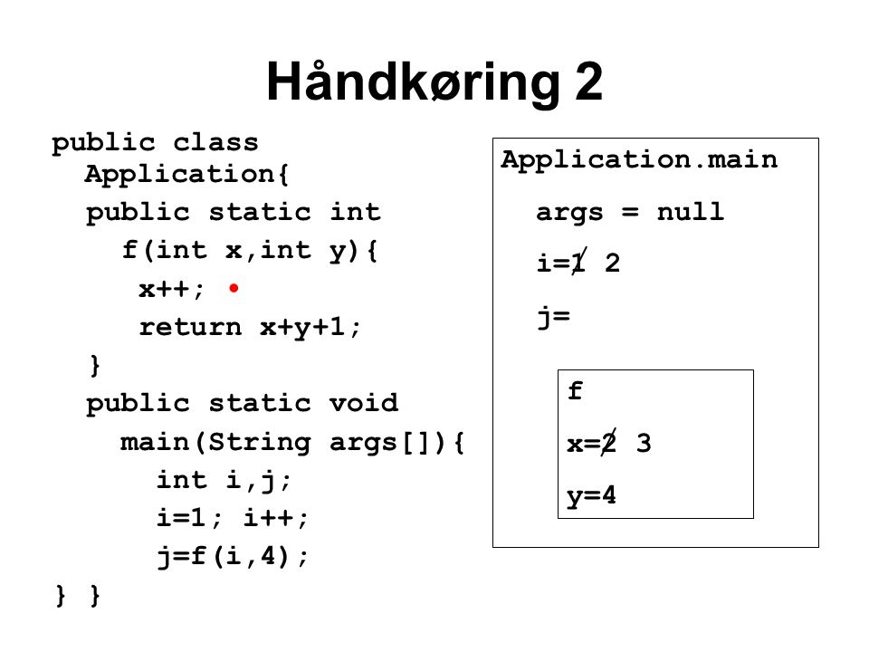 Håndkøring 2 public class Application{ public static int f(int x,int y){ x++; return x+y+1; } public static void main(String args[]){ int i,j; i=1; i++; j=f(i,4); } Application.main args = null i=1 2 j= f x=2 3 y=4