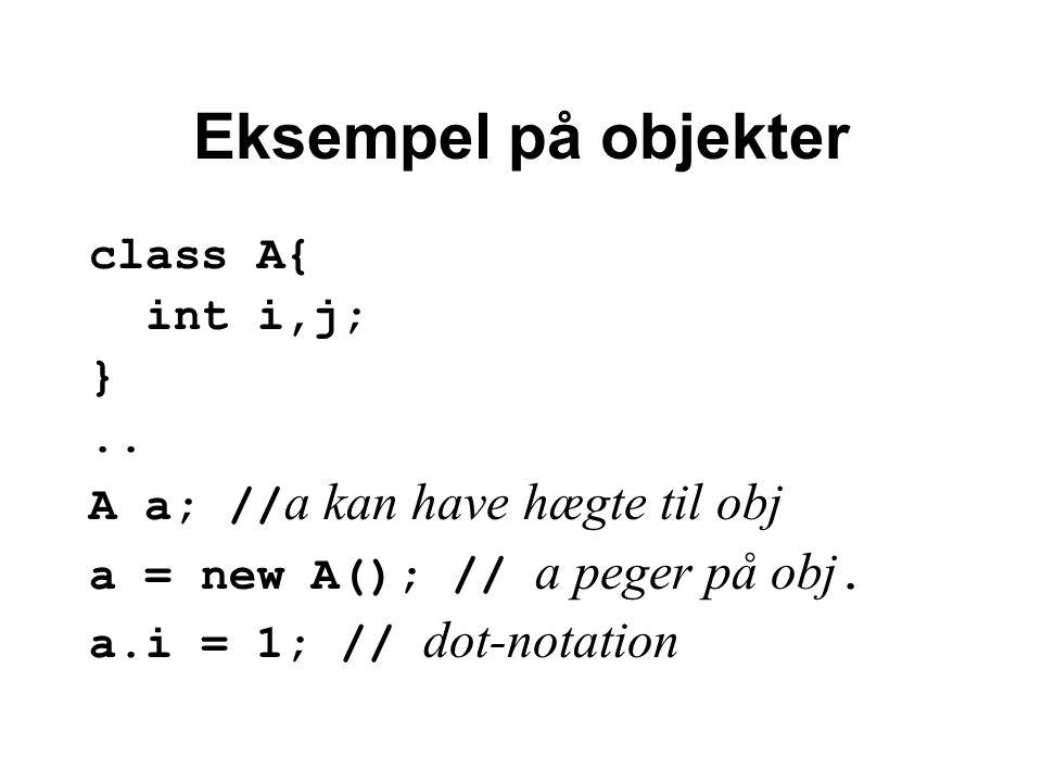 Eksempel på objekter class A{ int i,j; }..
