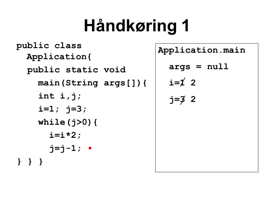 Håndkøring 1 public class Application{ public static void main(String args[]){ int i,j; i=1; j=3; while(j>0){ i=i*2; j=j-1; } } } Application.main args = null i=1 2 j=3 2
