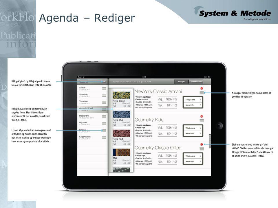 Agenda – Rediger