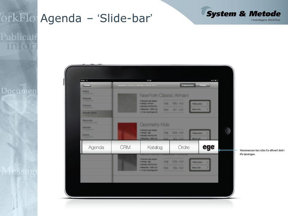 Agenda – ' Slide-bar '
