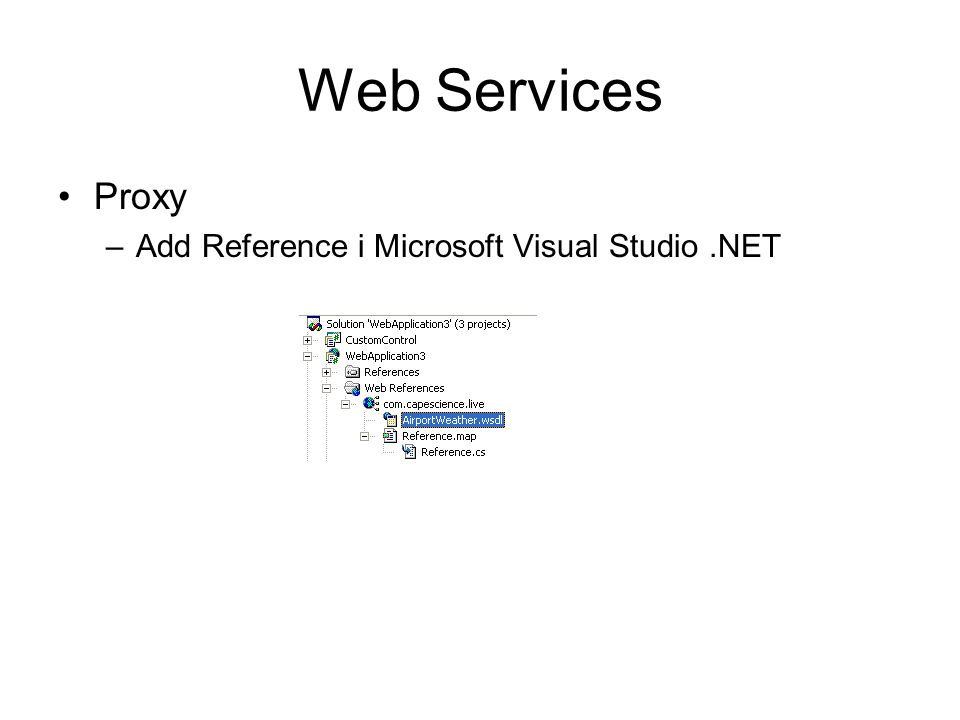 Web Services Proxy –Add Reference i Microsoft Visual Studio.NET