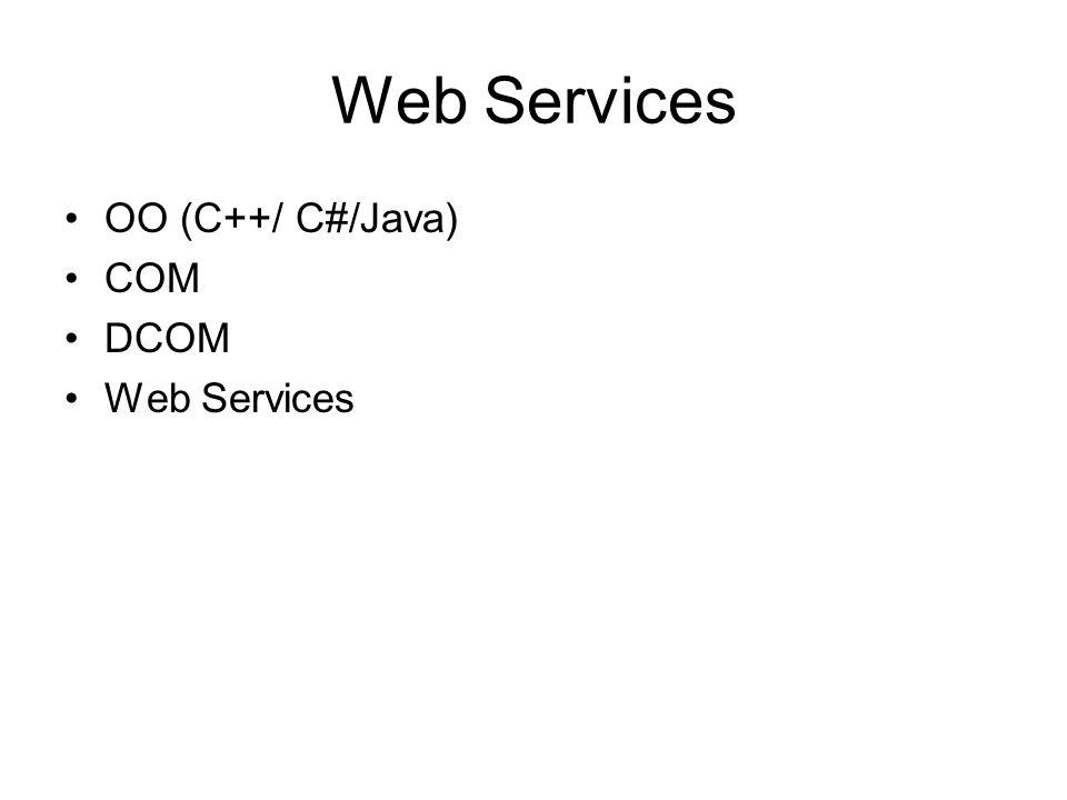 OO (C++/ C#/Java) COM DCOM Web Services
