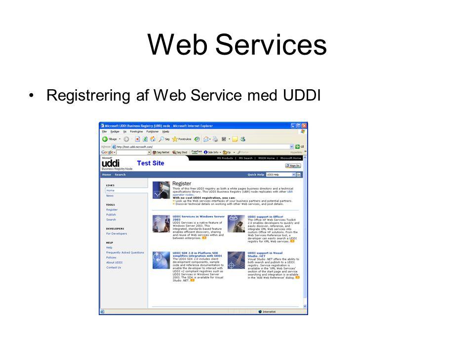 Web Services Registrering af Web Service med UDDI