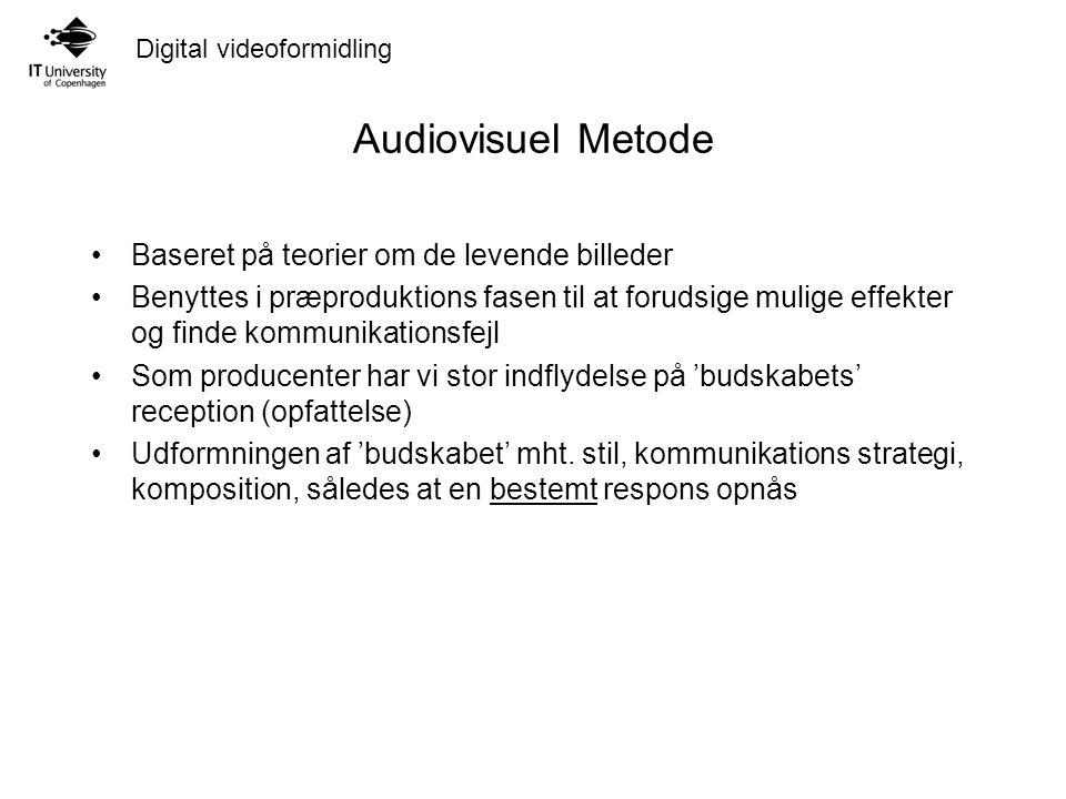 Digital videoformidling Audiovisuel Metode Baseret på teorier om de levende billeder Benyttes i præproduktions fasen til at forudsige mulige effekter og finde kommunikationsfejl Som producenter har vi stor indflydelse på 'budskabets' reception (opfattelse) Udformningen af 'budskabet' mht.