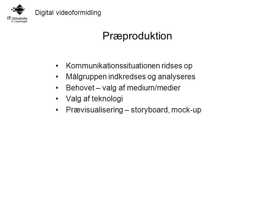 Digital videoformidling Præproduktion Kommunikationssituationen ridses op Målgruppen indkredses og analyseres Behovet – valg af medium/medier Valg af teknologi Prævisualisering – storyboard, mock-up