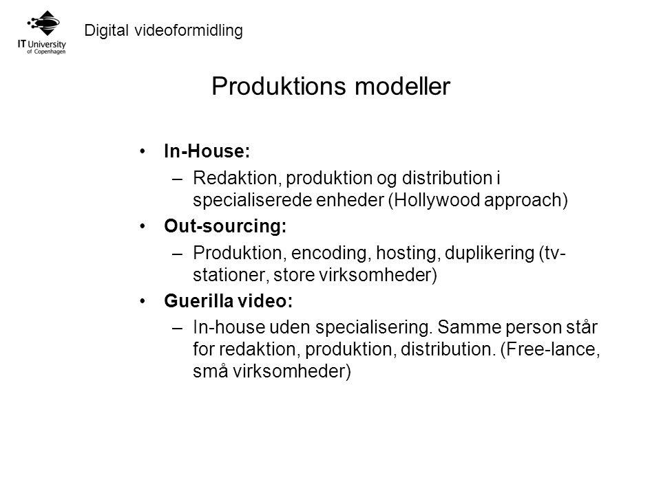 Digital videoformidling Produktions modeller In-House: –Redaktion, produktion og distribution i specialiserede enheder (Hollywood approach) Out-sourcing: –Produktion, encoding, hosting, duplikering (tv- stationer, store virksomheder) Guerilla video: –In-house uden specialisering.
