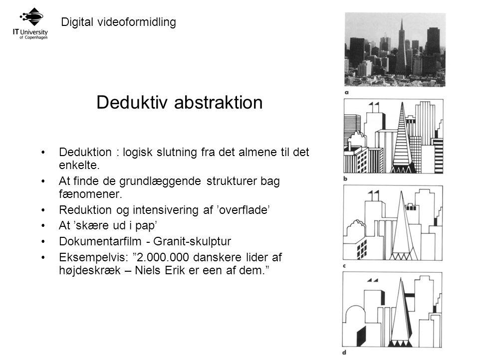 Digital videoformidling Deduktiv abstraktion Deduktion : logisk slutning fra det almene til det enkelte.