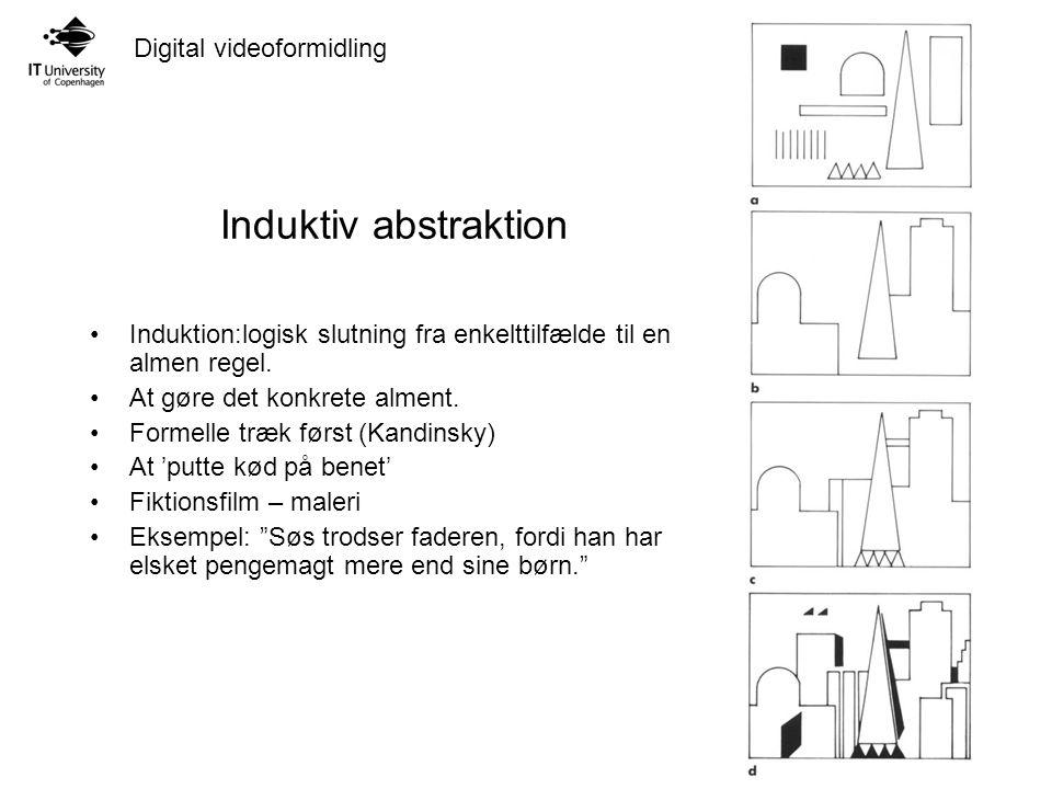 Digital videoformidling Induktiv abstraktion Induktion:logisk slutning fra enkelttilfælde til en almen regel.