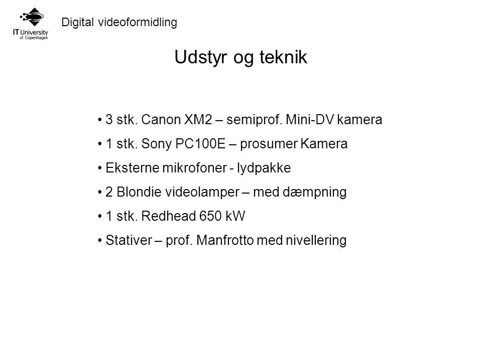 Digital videoformidling Udstyr og teknik 3 stk. Canon XM2 – semiprof.