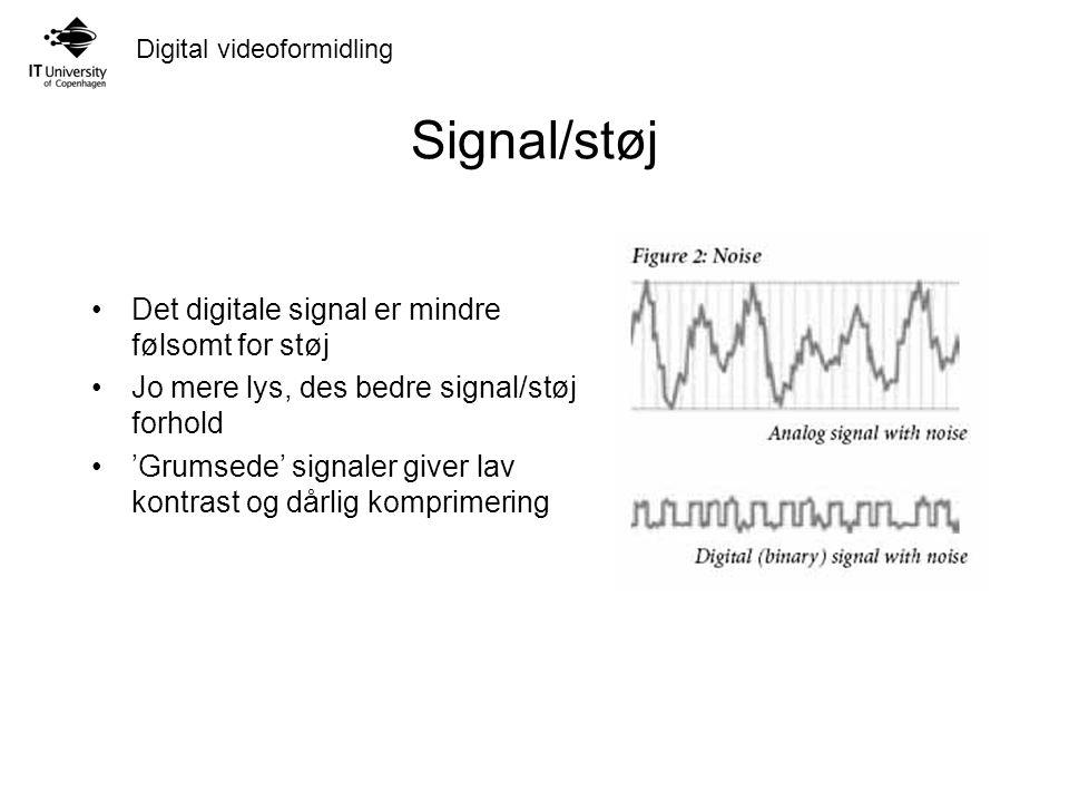 Digital videoformidling Signal/støj Det digitale signal er mindre følsomt for støj Jo mere lys, des bedre signal/støj forhold 'Grumsede' signaler giver lav kontrast og dårlig komprimering