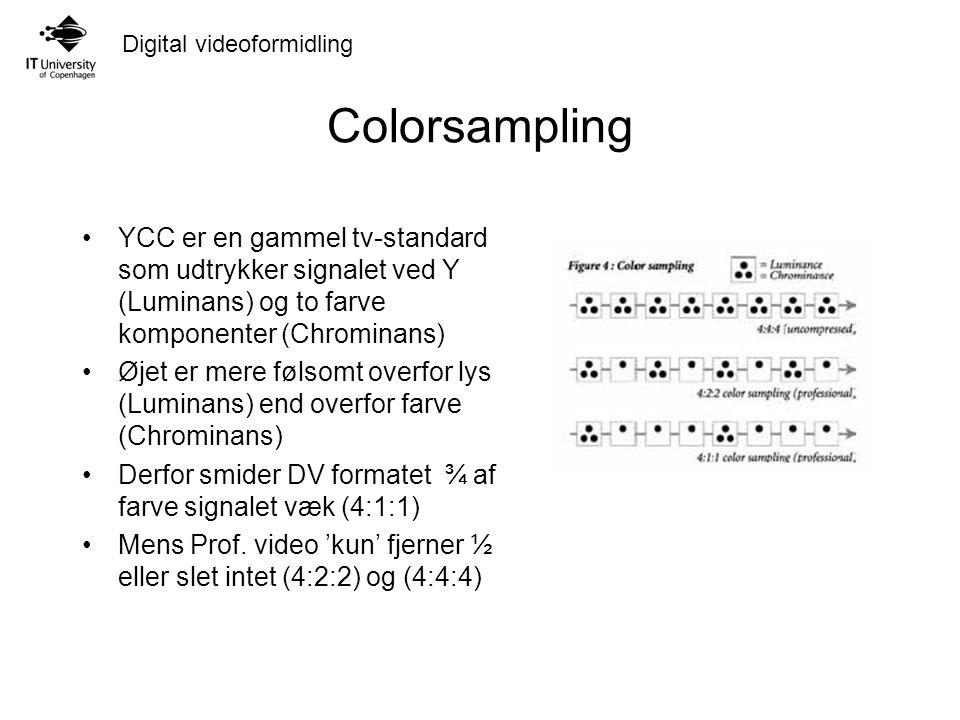 Digital videoformidling Colorsampling YCC er en gammel tv-standard som udtrykker signalet ved Y (Luminans) og to farve komponenter (Chrominans) Øjet er mere følsomt overfor lys (Luminans) end overfor farve (Chrominans) Derfor smider DV formatet ¾ af farve signalet væk (4:1:1) Mens Prof.