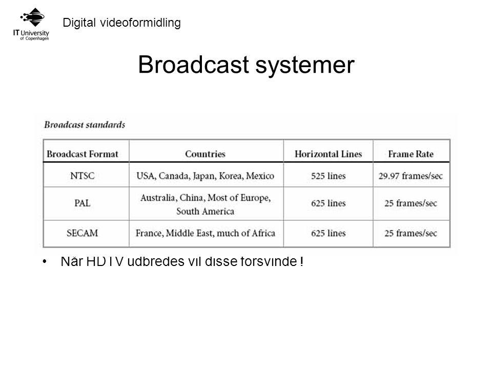 Digital videoformidling Broadcast systemer Når HDTV udbredes vil disse forsvinde !
