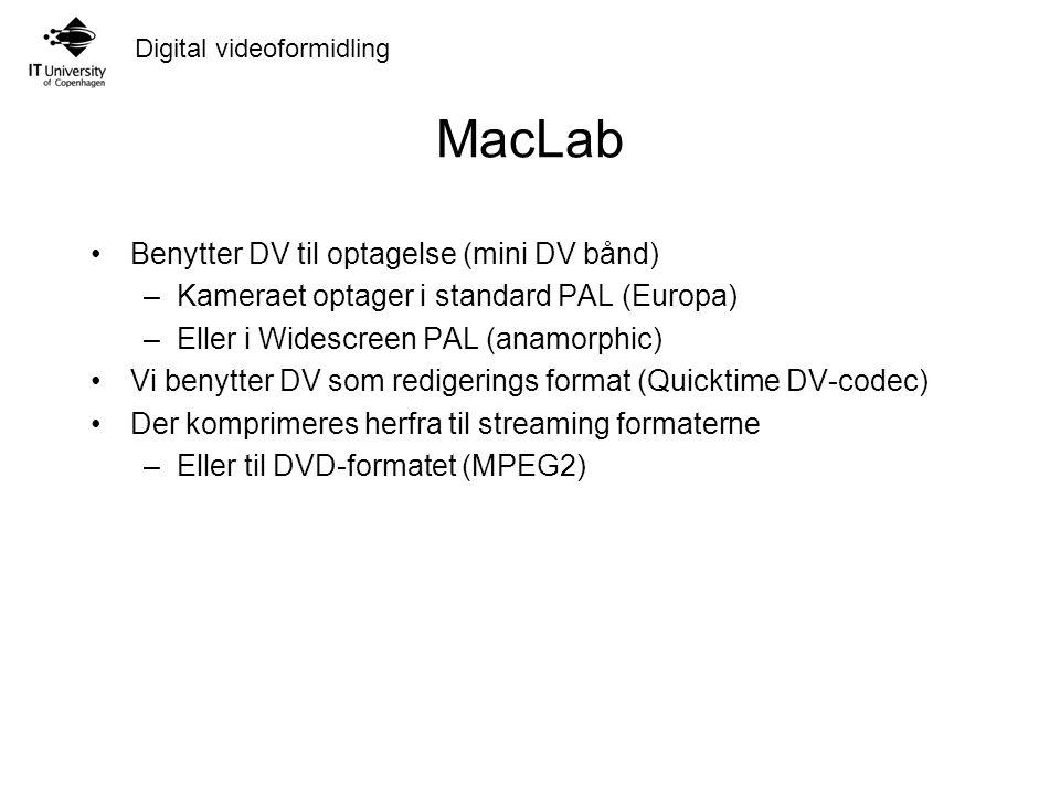 Digital videoformidling MacLab Benytter DV til optagelse (mini DV bånd) –Kameraet optager i standard PAL (Europa) –Eller i Widescreen PAL (anamorphic) Vi benytter DV som redigerings format (Quicktime DV-codec) Der komprimeres herfra til streaming formaterne –Eller til DVD-formatet (MPEG2)