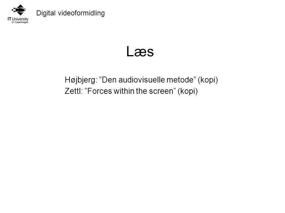 Digital videoformidling Læs Højbjerg: Den audiovisuelle metode (kopi) Zettl: Forces within the screen (kopi)