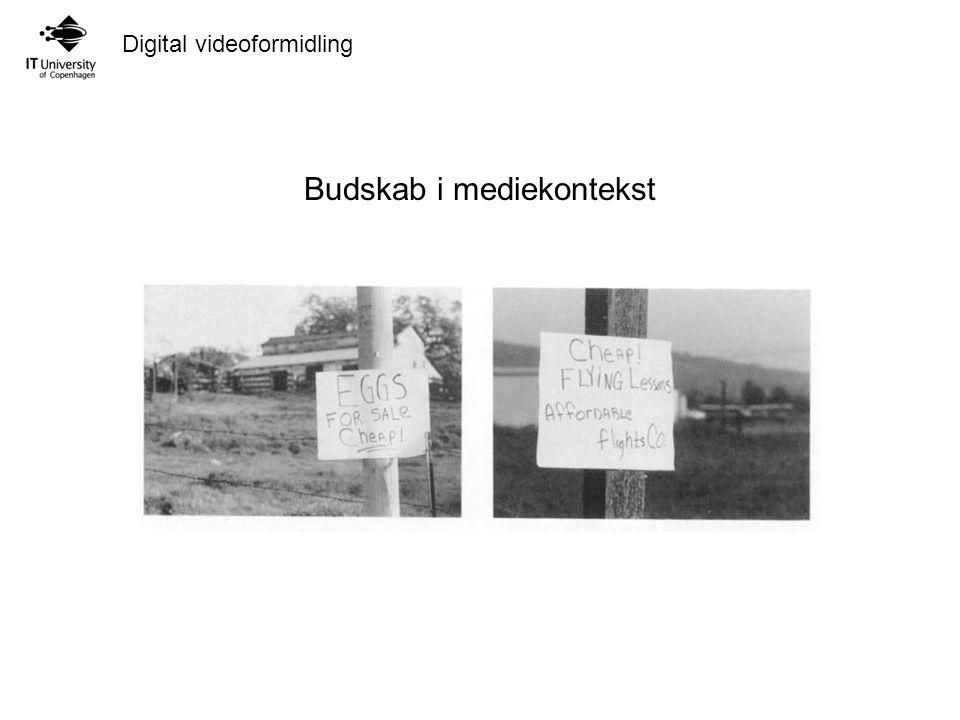 Digital videoformidling Budskab i mediekontekst