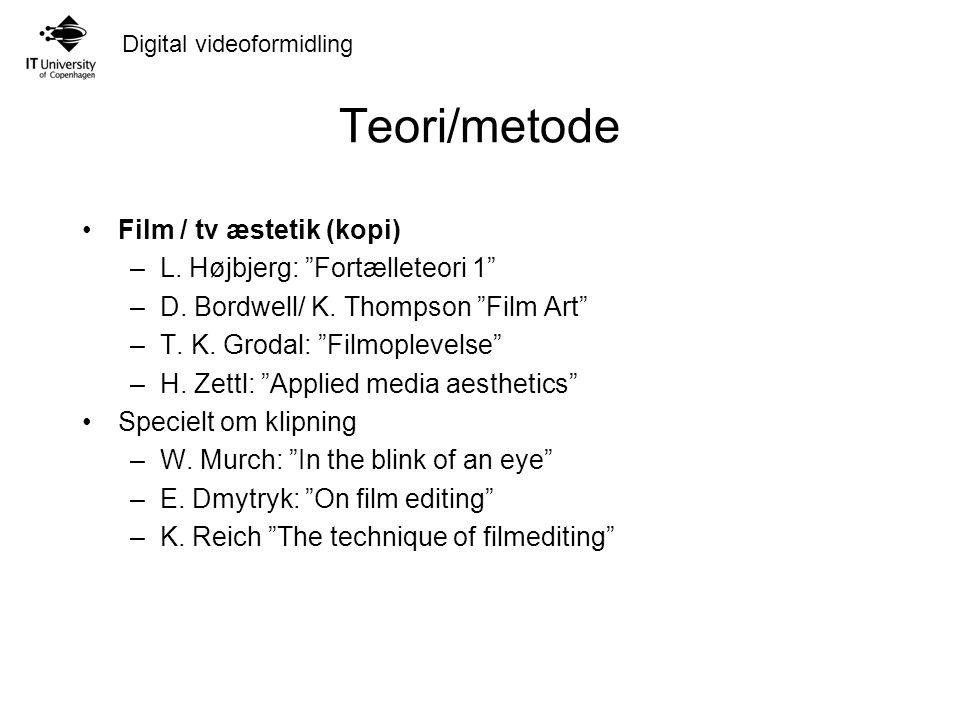 Digital videoformidling Teori/metode Film / tv æstetik (kopi) –L.