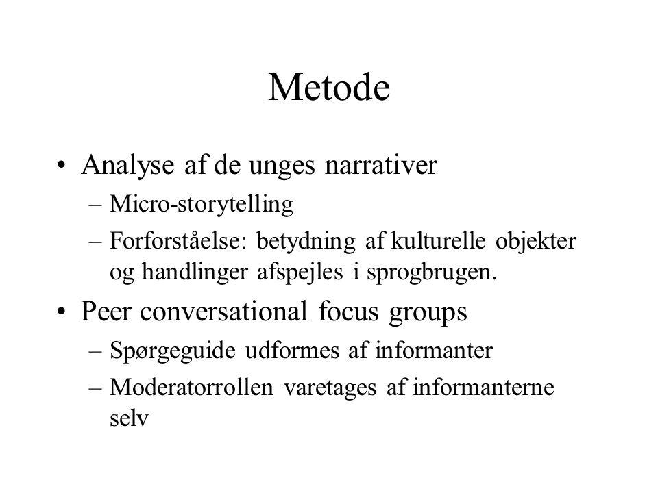 Metode Analyse af de unges narrativer –Micro-storytelling –Forforståelse: betydning af kulturelle objekter og handlinger afspejles i sprogbrugen.
