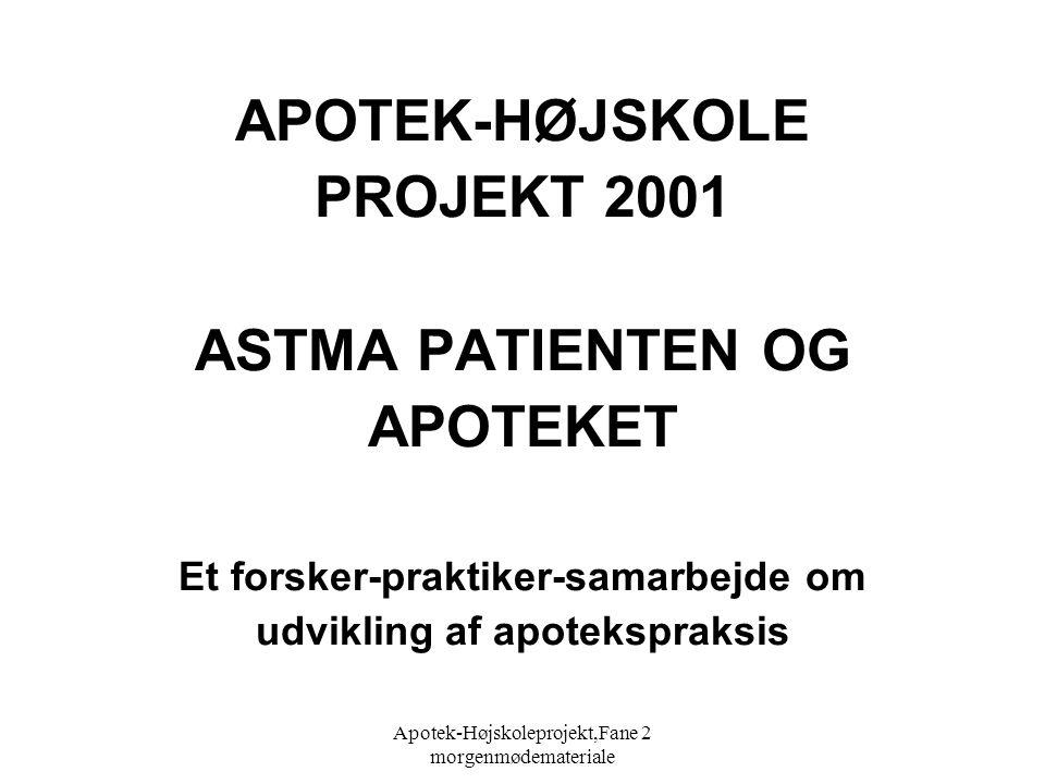 Apotek-Højskoleprojekt,Fane 2 morgenmødemateriale APOTEK-HØJSKOLE PROJEKT 2001 ASTMA PATIENTEN OG APOTEKET Et forsker-praktiker-samarbejde om udvikling af apotekspraksis