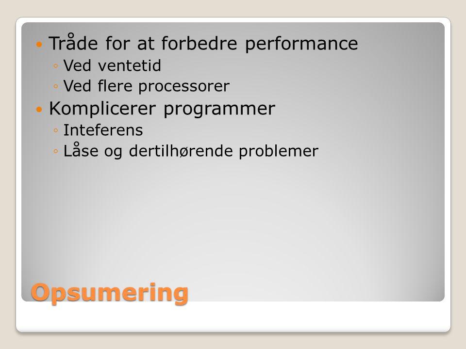 Opsumering Tråde for at forbedre performance ◦Ved ventetid ◦Ved flere processorer Komplicerer programmer ◦Inteferens ◦Låse og dertilhørende problemer