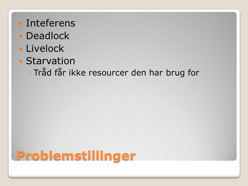 Problemstillinger Inteferens Deadlock Livelock Starvation ◦Tråd får ikke resourcer den har brug for