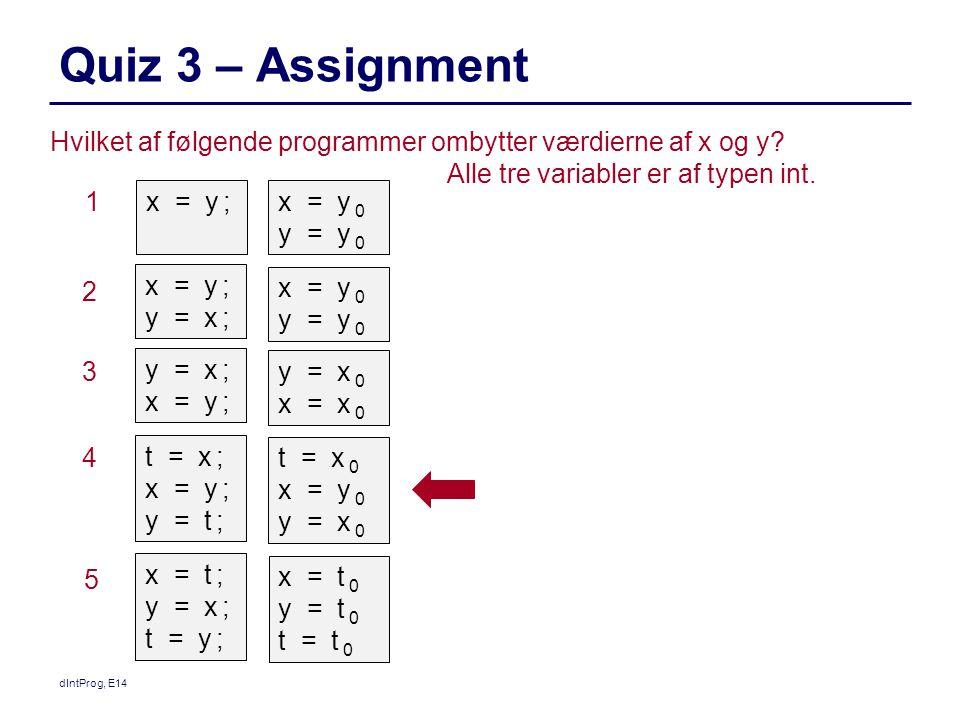 1 Quiz 3 – Assignment dIntProg, E14 Hvilket af følgende programmer ombytter værdierne af x og y.