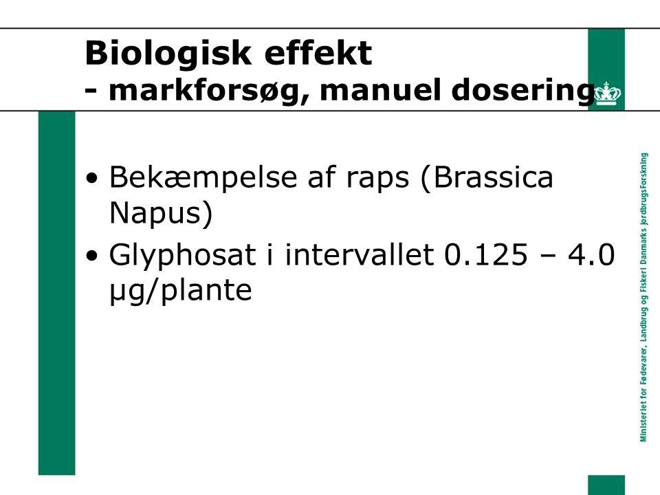 Biologisk effekt - markforsøg, manuel dosering Bekæmpelse af raps (Brassica Napus) Glyphosat i intervallet 0.125 – 4.0 µg/plante