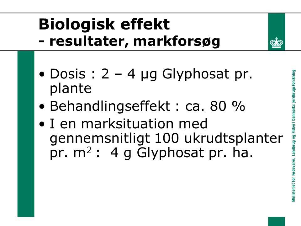 Biologisk effekt - resultater, markforsøg Dosis : 2 – 4 μg Glyphosat pr.