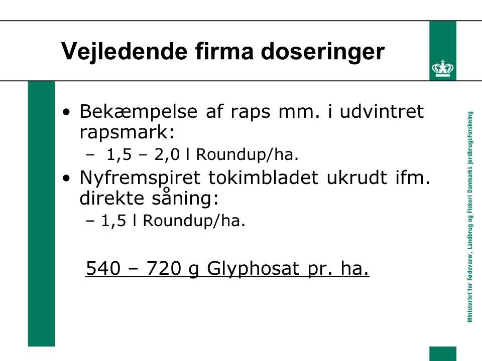 Vejledende firma doseringer Bekæmpelse af raps mm.