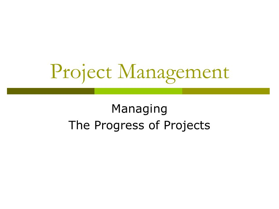 Project Management Managing The Progress of Projects