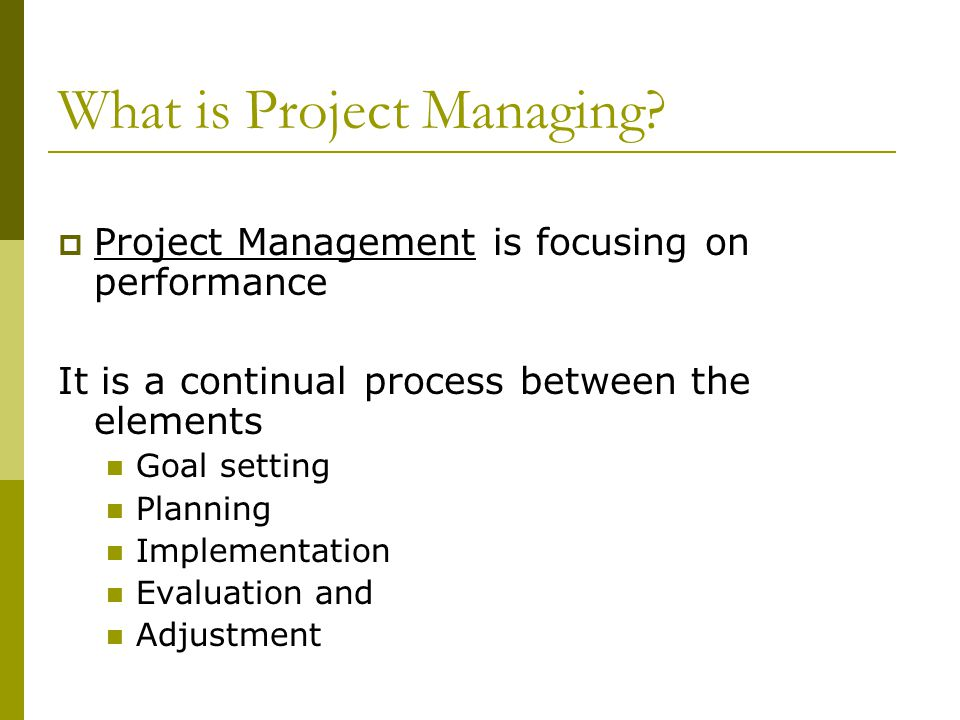 What is Project Managing.