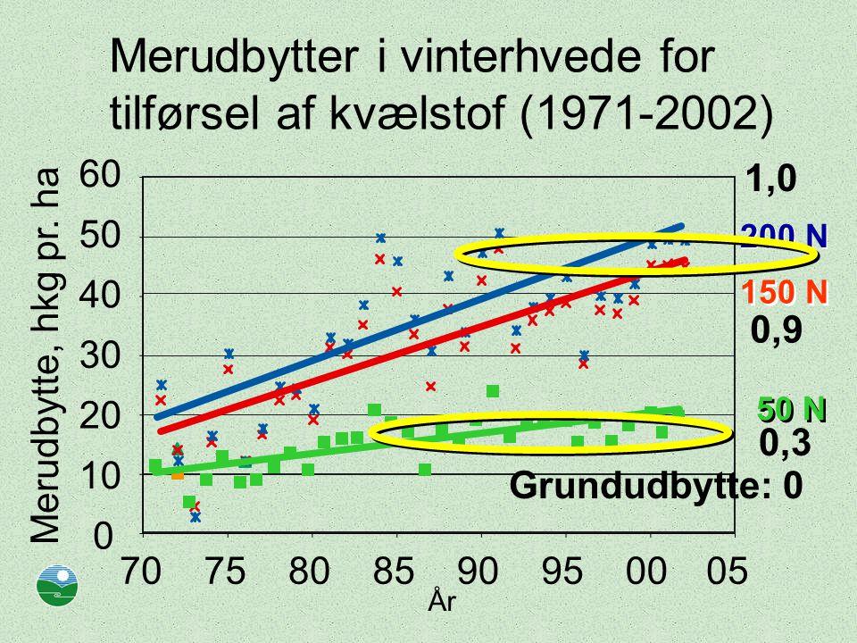 Merudbytter i vinterhvede for tilførsel af kvælstof (1971-2002) År 0 10 20 30 40 50 60 7075808590950005 Merudbytte, hkg pr.